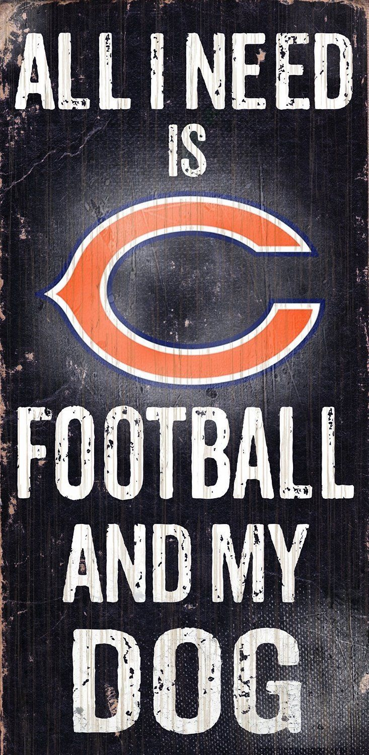 "CHICAGO BEARS FOOTBALL and my DOG WOOD SIGN and ROPE 12"" X 6""  NFL MAN CAVE!"