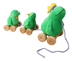 Frog and Babies Plush Pull Toy with Wooden Wheels by Rich Frog - $15.90
