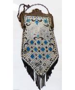 ART DECO ANTIQUE MANDALIAN ENAMELED MESH DIAMOND PATTREN HANDBAG PURSE W... - $217.80