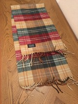 CHRISTIAN DIOR CASHMAIRE SCARF FRINGE 100% ACRYLIC GREEN RED TAN UNISEX ... - £13.91 GBP