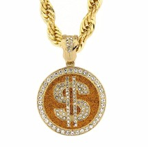 "Mens Gold Tone with Stardust Sing Money Pendant 10mm 30"" Rope Chain Neck... - $28.71"