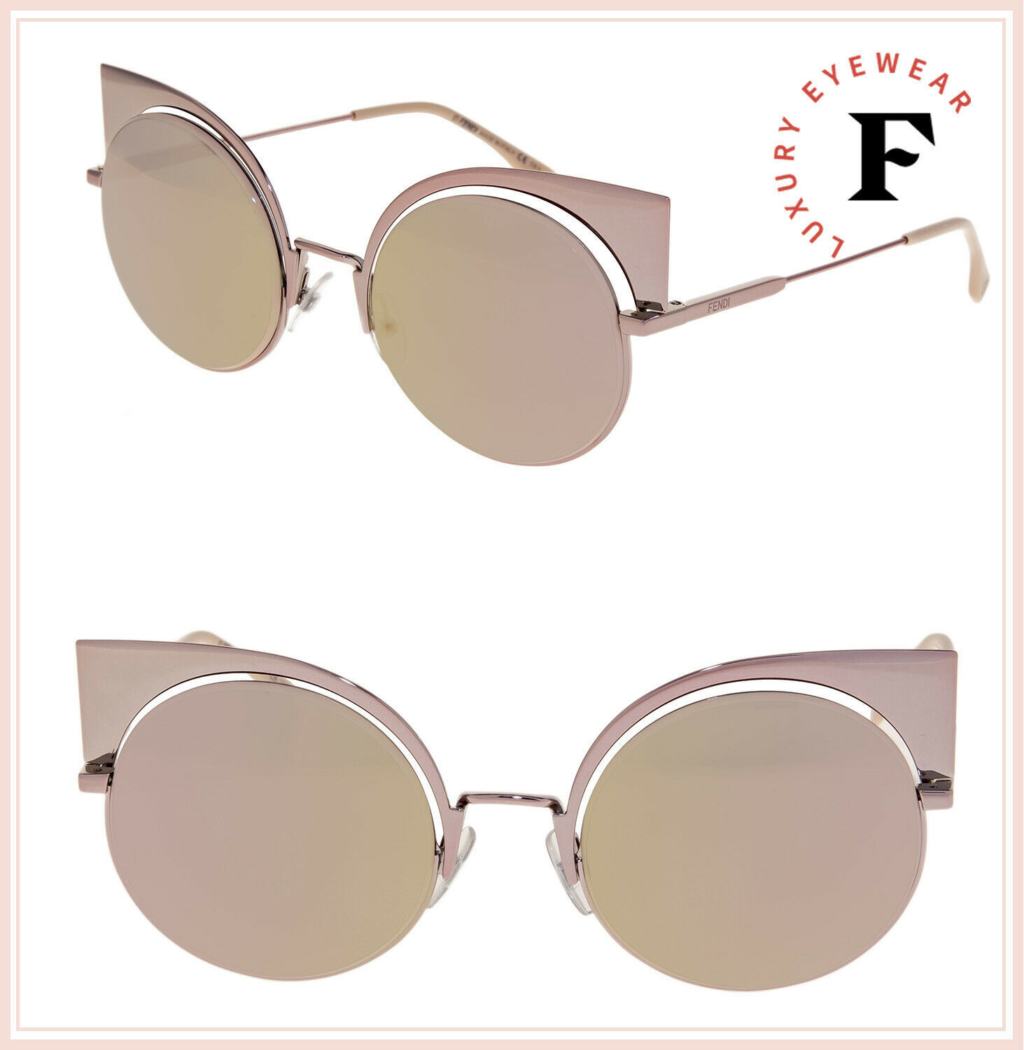 Primary image for FENDI EYESHINE 0177 Metal Rose Pink Mirrored Sunglasses FF0177S Women Authentic