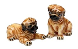 "Ceramic Cute Brown Pug Puppies Playing Salt and Pepper Shakers 3.5"" x 1.75"" - $12.86"