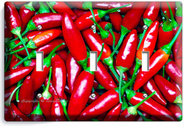 HOT RED CHILI PEPPERS TRIPLE LIGHT WALL PLATE COVER DINING KITCHEN PANTR... - $14.57
