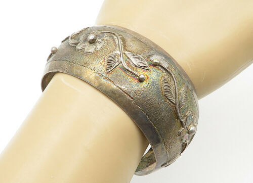 Primary image for 925 Sterling Silver - Vintage Embossed Flower Patterned Cuff Bracelet - B6496