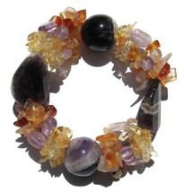 "Amethyst and Carnelian Chip Adjustable Twist  Bead Stretch Bracelet 6.5""... - $9.99"