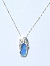 "Hawaiian Design .925 Sterling Silver 18"" Blue O... - $26.99"