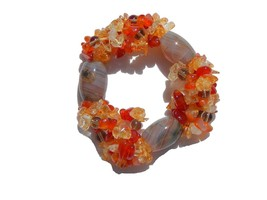 Banded Onyx Large beads with Citrine and Orange Chips Stretch Bracelet 6... - $9.99