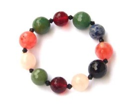Multi Gemstone and Glass Faceted Round Adjustab... - $12.99