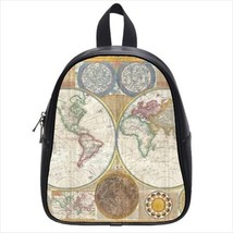 Map Of The World Leather Kid's School Bag / Children's Backpack - $33.94+