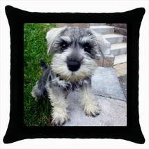 Miniature Schnauzer Throw Pillow Case - Puppy Dog - $16.44