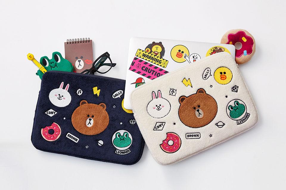 "LINE Friends Ivory Wappen Notebook Pouch 13"" Laptop Multi Character Bag Case"
