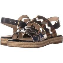Cole Haan Emilia Espadrille Slingback Sandals 169, Black Leather/Gold/Silver, - $50.87
