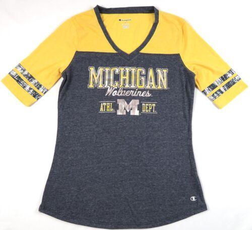 Michigan Wolverines Women's Shirt Trend Captain V-Neck Half-Sleeve Tunic Tee