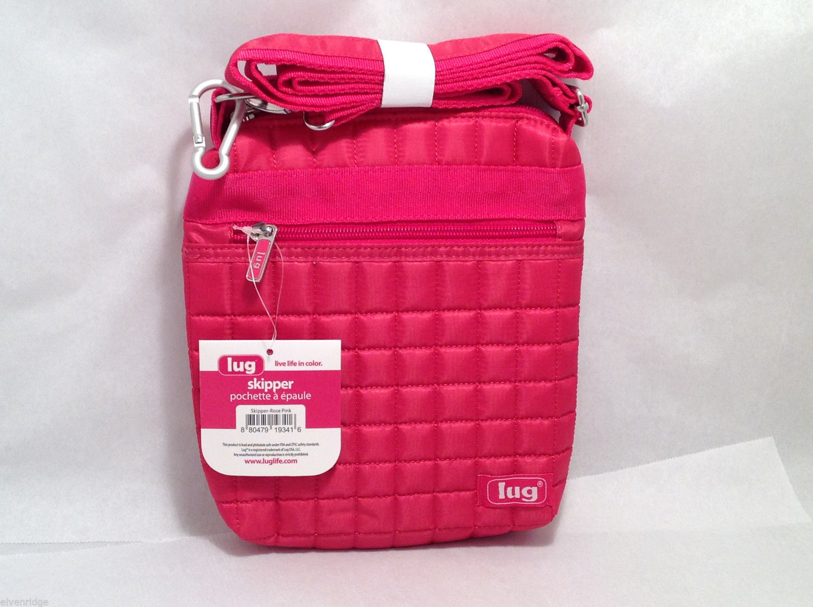 "NWT Lug ""Skipper"" Shoulder Pouch, Bag, Purse in Rose Pink with Carabiner Clip"