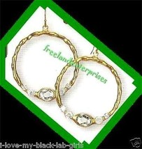 Earring Bejeweled Hoop Earrings Clear (White) Color NEW Pierced - $9.85