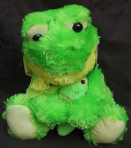 """Green / Yellow Frog Holding Baby  Plush 17"""" Frog 9.5"""" Baby Publix  w/ Ye... - $29.69"""