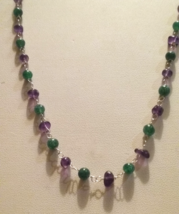 Genuine Natural Amethyst & Green Aventurine Gemstone Beaded Necklace SALE - $9.99