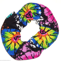Tie Dye Peace Signs Hair Scrunchie Scrunchies by Sherry Ponytail Holder Colorful - $6.99