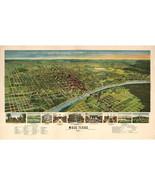 Waco Texas, Antique Birdseye Map 1892; Custom Printed to Order - $26.72+