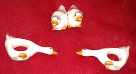 Vintage Set of 4 GEESE NAPKIN RINGS GOOSE Napkins Holder Holiday Country... - $14.95