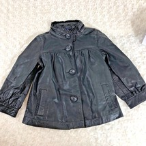 Gap Kids Black Sz M Girls Goat Leather Jacket Ruffle Collar Coat Lined - $27.76
