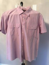Michael Kors Short Sleeve Tailored Fit Button Down Pink & Blue Check Xxl - $58.41
