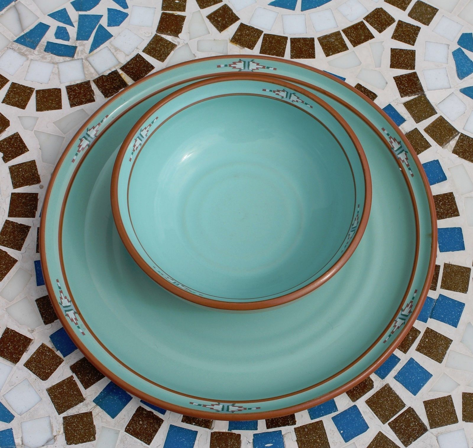 Noritake Stoneware Japan Dinner Plate & Cereal Soup Bowl Boulder Ridge Turquoise image 2