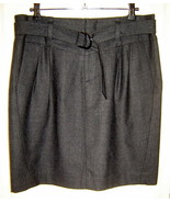 BANANA REPUBLIC Charcoal Gray Belted Pleated Stretch Wool Pencil Skirt (... - $24.40