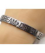 925 Sterling Silver - Vintage Carved Dream Bangle Bracelet - B2720 - $77.23