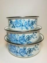 Lincoware Corelle Blue Velvet Roses Set of 3 Metal Nesting Bowls No Lids - $23.71