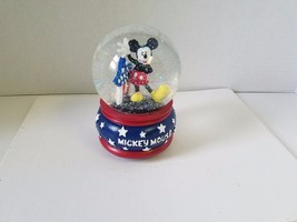 Micky Mouse Yankee Doodle Dandy Snow Globe Music Wind Up Patriotic Stars... - $18.92