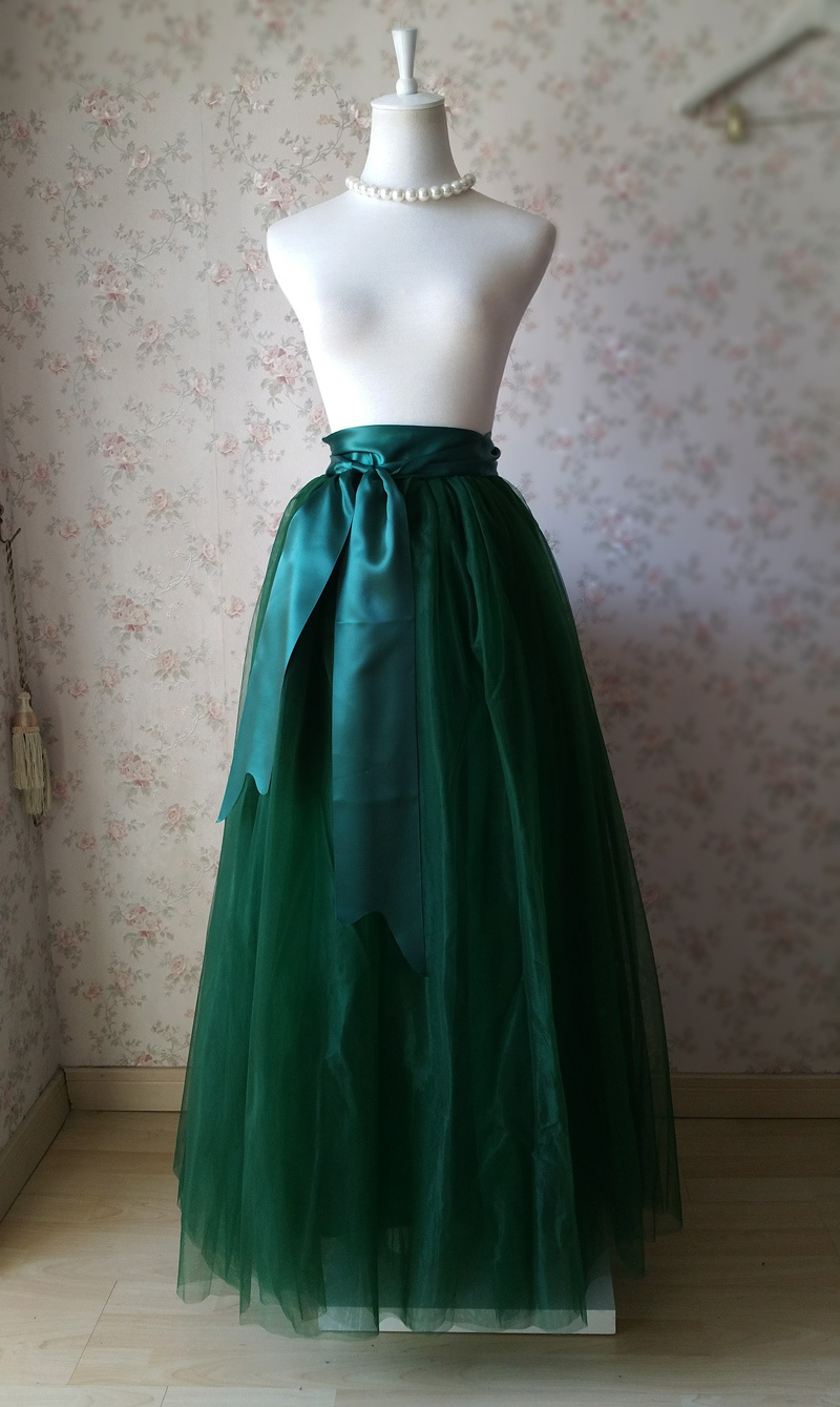 Dressromantic DARK GREEN Full Tulle Maxi Skirt Women High Waist Maxi Tulle Skirt