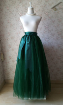 4-Layered DARK GREEN Tulle Skirt High Waisted Plus Size Long Puffy Tulle Skirt image 1