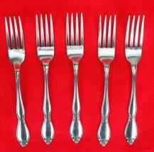 """5X Dinner Forks Oneida Chatelaine Stainless Glossy Flatware 7 1/4"""" Fork - $94.05"""
