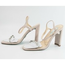 Betsey Johnson Brady Pale Nude Crystal Illusion Faux Leather High Heels ... - $78.71