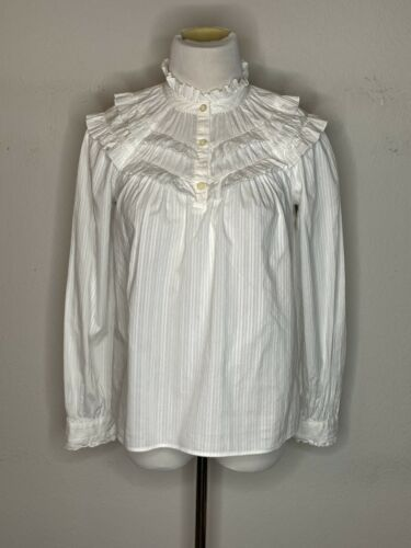 Primary image for Kate Spade Women's White Ruffle Top Blouse Button Up Sz XXS