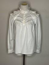 Kate Spade Women's White Ruffle Top Blouse Button Up Sz XXS - $29.95