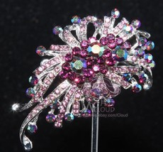 Vintage Purple Aurora Rhinestone Crystal Wedding Brooch Pin Jewelry Acce... - $5.89