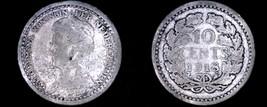 1918 Netherlands 10 Cent World Silver Coin - Wilhelmina I - $5.75