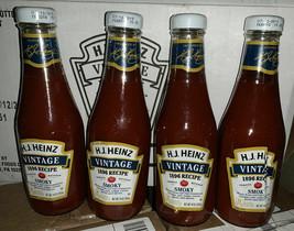 Heinz Vintage 1896 Recipe Ketchup Smoky 4 Glass Bottles Lot Salsa de Tomate - $49.49