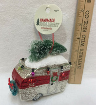 Camper Glass Ornaments Colorful Christmas Old Air Stream w/ Tree on Top ... - $14.84