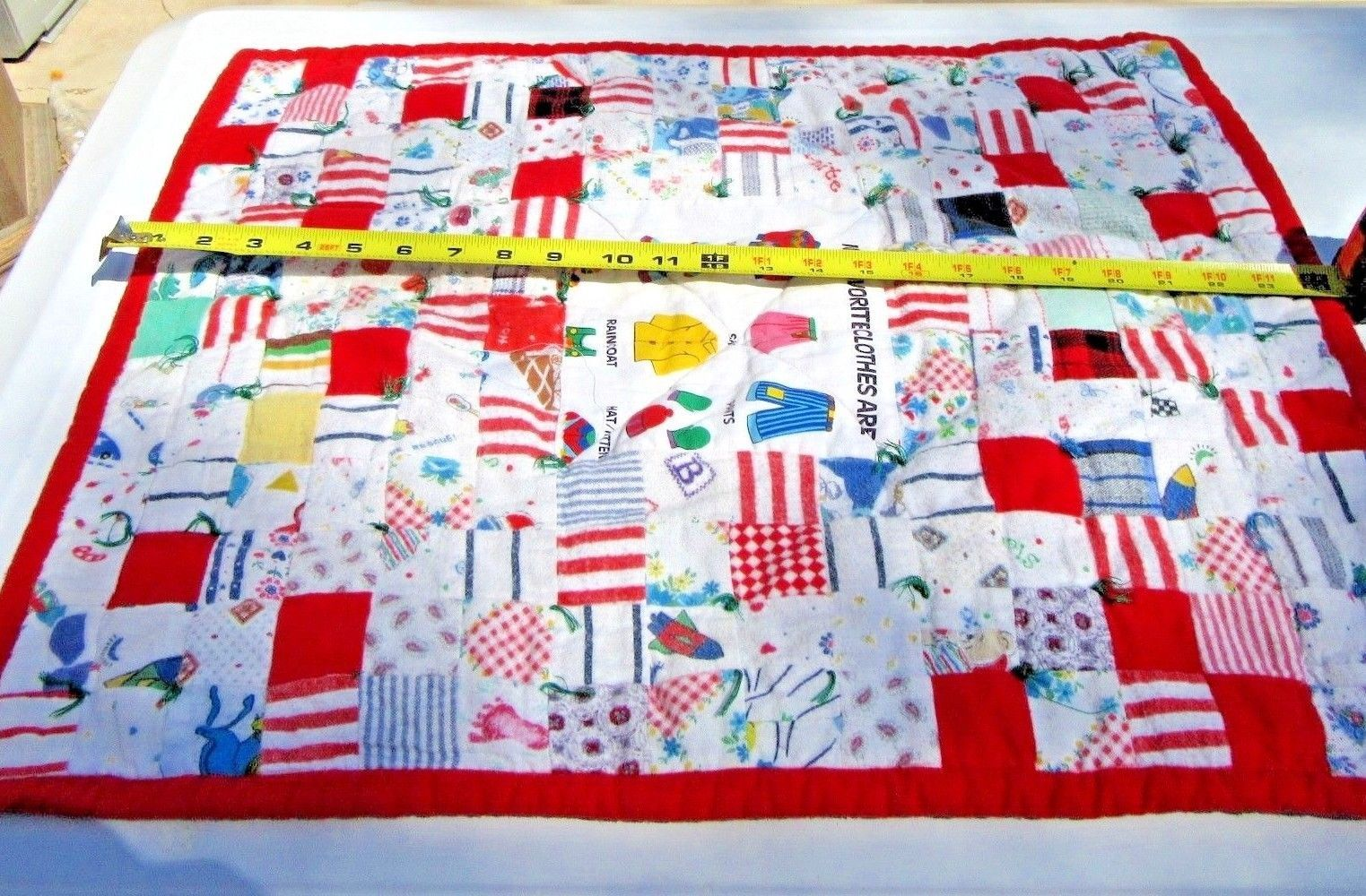 Baby quilt blanket throw handmade patchwork double sided