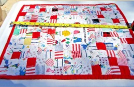 Baby quilt blanket throw handmade patchwork double sided - $17.49