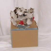 PartyLite Modern Holly Candle Holder Silver Metal with Red Berries P91364 - $8.95