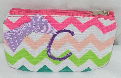 GANZ Brand Multi Color Chevron Monogram C Coin Purse With Purple Polka Dot Bow