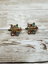 Vintage Clip On Earrings Gold Tone Flower with Blue, Pink, & White Stones - $14.99