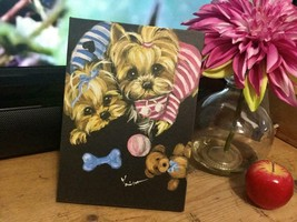TWO YORKIES AFTER LONG DAY PLAYING PRINTED PICTURE FROM ORIGINAL - $123.75