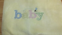 Carters Yellow baby blanket pastel stitched BABY embroidered  bee satin ... - $49.76 CAD