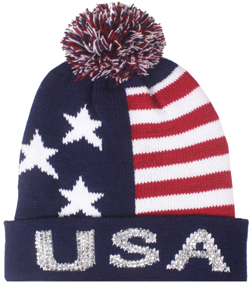 "Case of [48] Flag Winter Knitted Hats - ""USA"" Rhinestones"